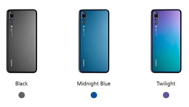 Die Farbvarianten des Huawei P20 Pro