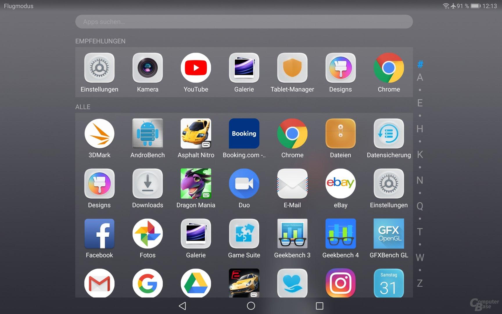 App-Drawer des MediaPads M5