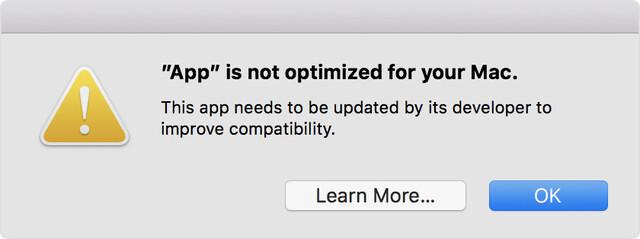 Warnung beim Aufruf einer 32-Bit-App in macOS 10.13.4