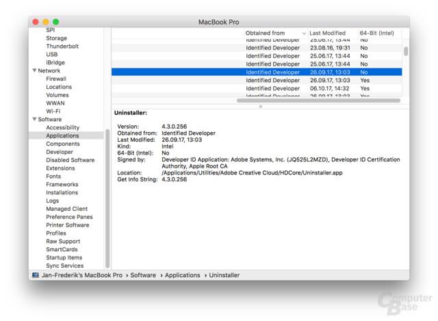 Installierte 32- und 64-Bit-Apps im Überblick