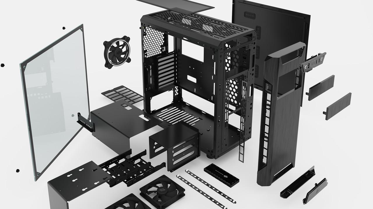 SilentiumPC Armis AR7: Schlichter Tower bietet versetzbares I/O-Panel
