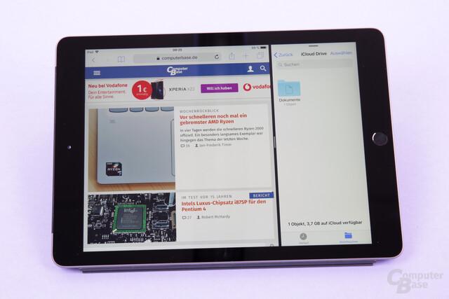 iOS mit zwei aktiven Apps im Modus Split View