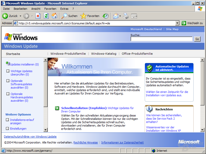 Windows Update Version 5 - Menü