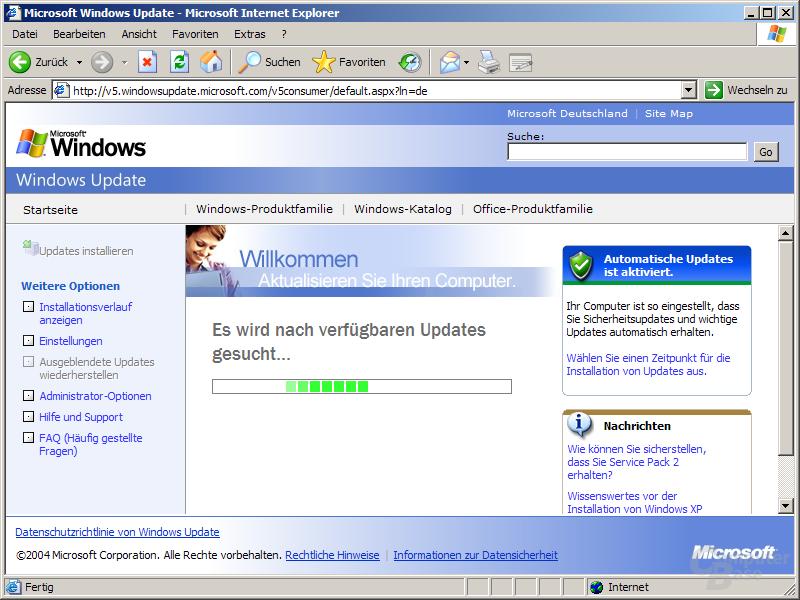 Windows Update Version 5 - Suche nach Updates