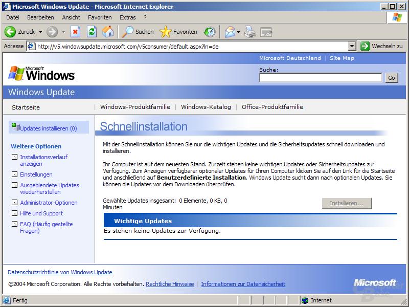 Windows Update Version 5 - Benutzerdefinierte Installation