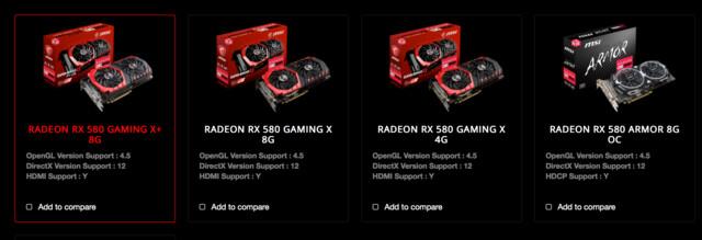 """Stimmt nicht: MSI listet weiterhin Radeon RX 580 der """"Gaming""""-Serie"""