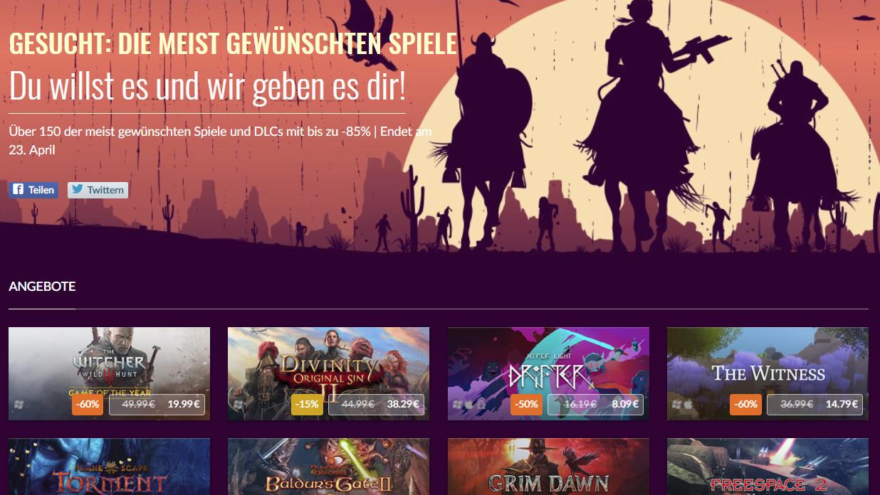 GOG.com: Meistgewünschte Spiele im Preis reduziert