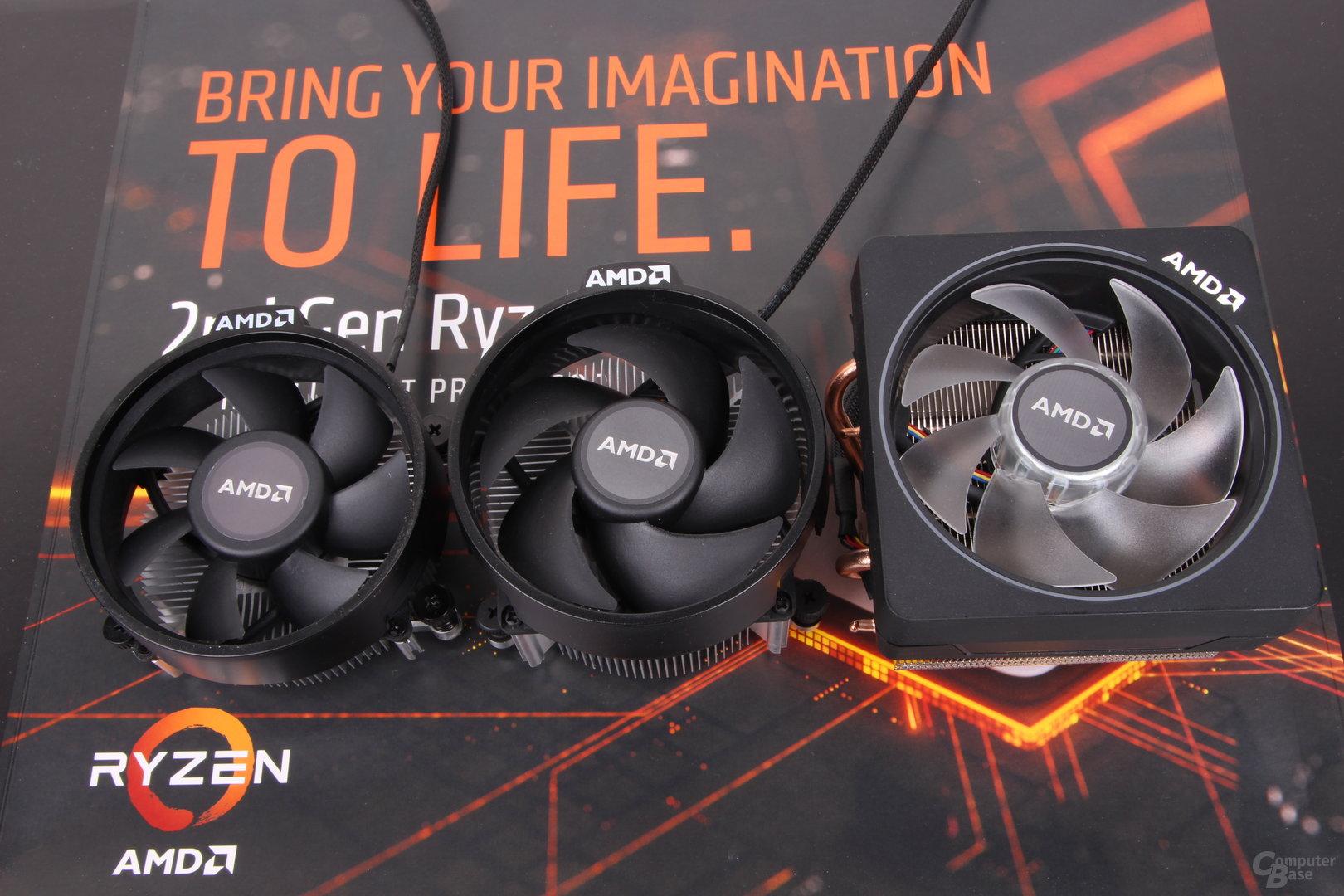 AMD Wraith Stealth (links), Wraith Spire (Mitte) und Wraith Prism (Rechts)