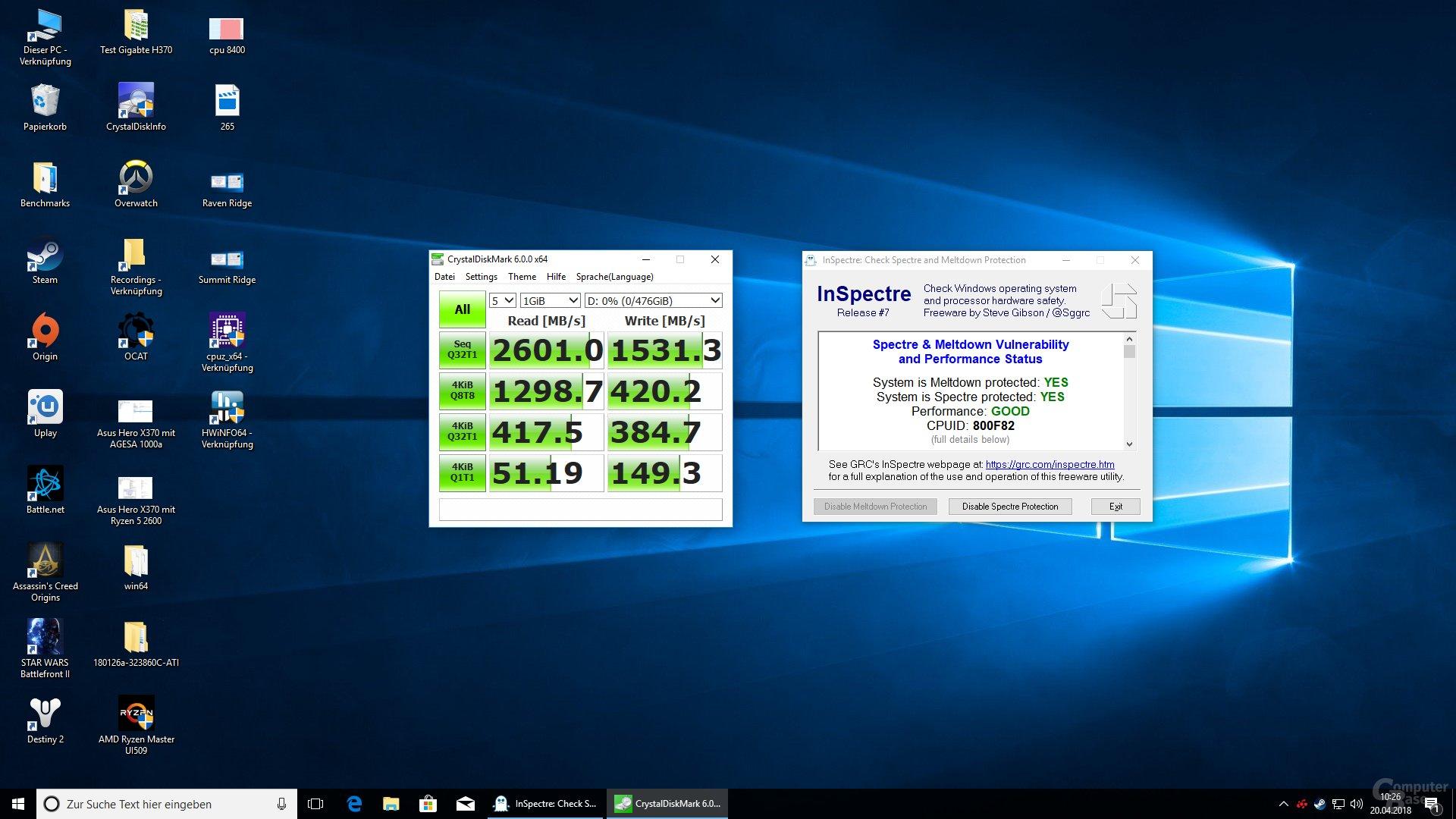 Der Ryzen 7 2700X mit aktivem Schutz unter Windows 10 Version 1709