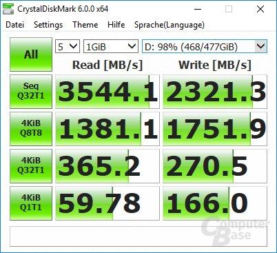 CrystalDiskMark: 970 Pro 10GB frei