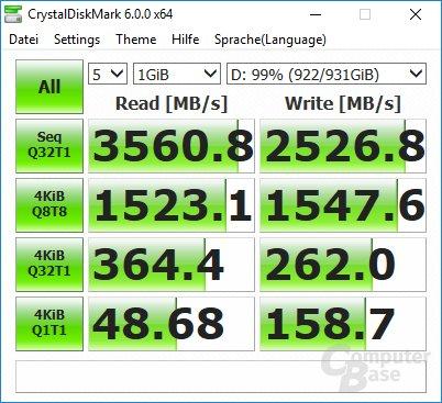 CrystalDiskMark: 970 Evo 10GB frei