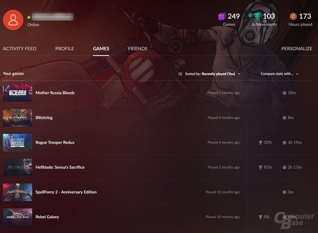 GOG-Profile funktionieren ähnlich wie die auf Steam oder Xbox Live