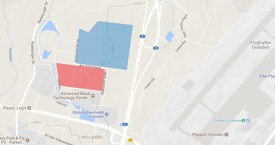 In der Nähe des Dresdener Flughafens entsteht die neue Chip-Fabrik (rote Fläche) von Bosch