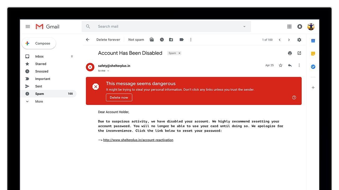 Warnung bei potenziell gefährlichen E-Mails