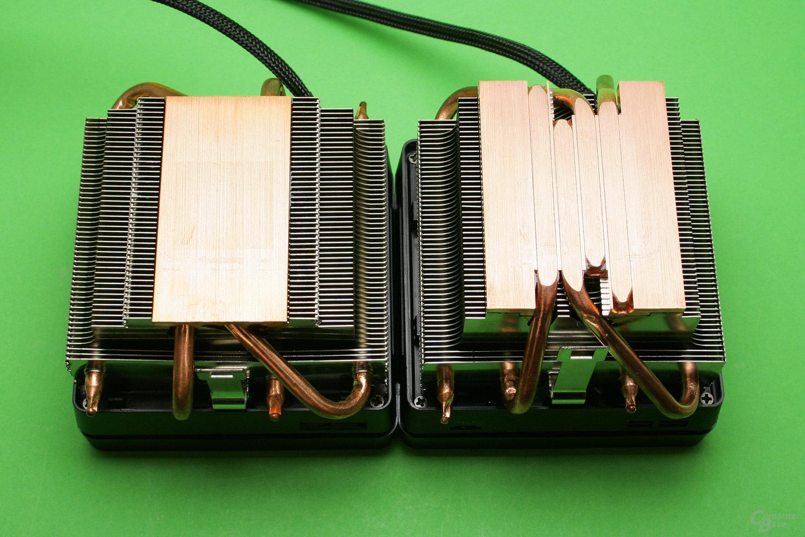 AMD Wraith Max (links) und AMD Wraith Prism (rechts) im Direktvergleich