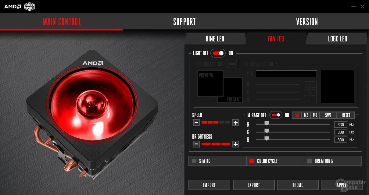 Die Software zur LED-Steuerung kommt von Cooler Master
