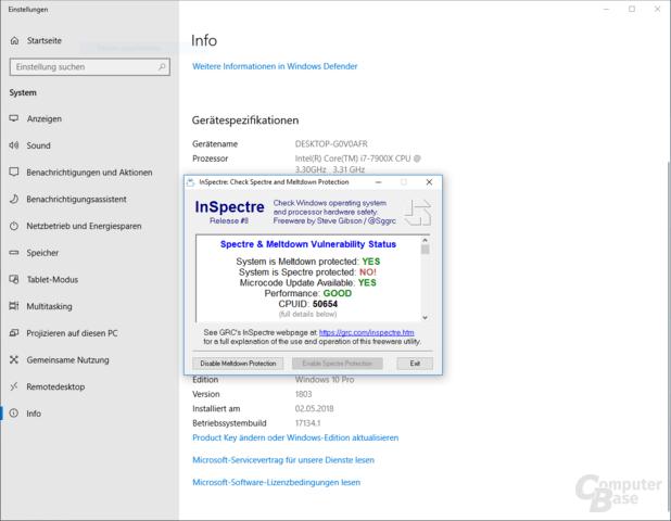 Spectre-Schutz ist mit Windows 10 April 2018 Update inaktiv