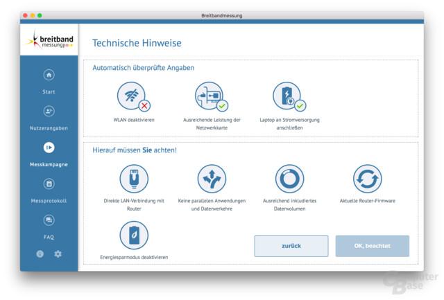 Die Desktop-App verweigert eine Messung über WLAN