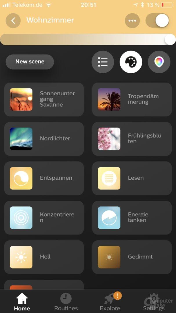 Szenen-Auswahl in der Hue-App 3.0