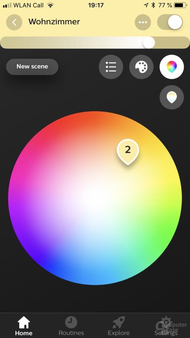 Farbauswahl in der Hue-App 3.0