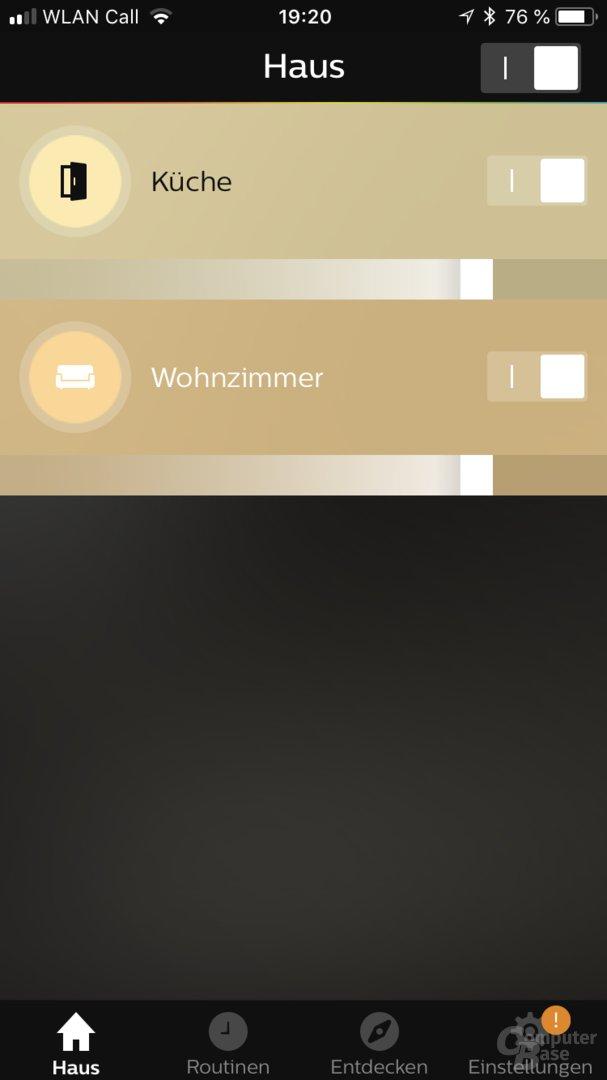 Zimmer-Übersicht in der Hue-App 2.19