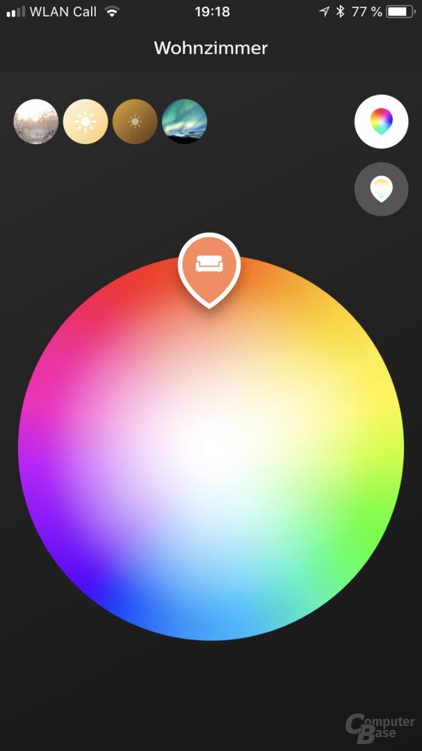 Direkte Farbauswahl per Touch noch nicht sinnvoll nutzbar