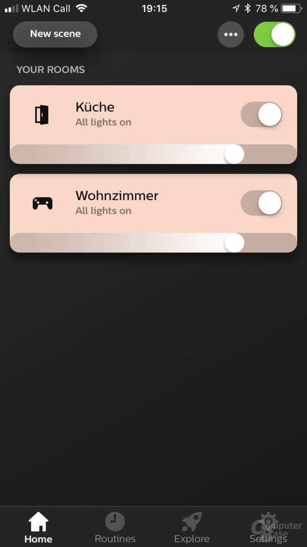 Zimmer-Übersicht in der Hue-App 3.0