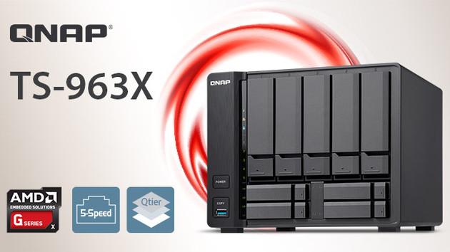 QNAP TS-963X: NAS mit Quad-Core-CPU von AMD für 9 Festplatten