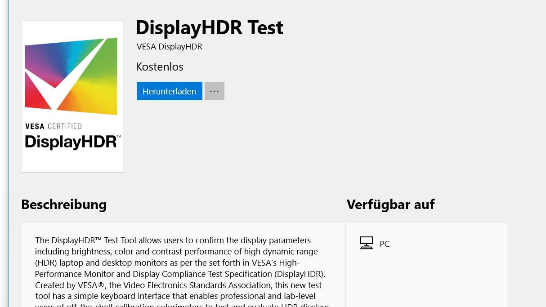 VESA DisplayHDR Test: Windows-App zur Überprüfung der HDR-Standards