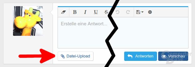 Datei-Upload-Button im Beitragseditor