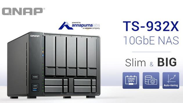 QNAP TS-932X: ARM-basiertes NAS mit 2× 10GbE für 9 Festplatten