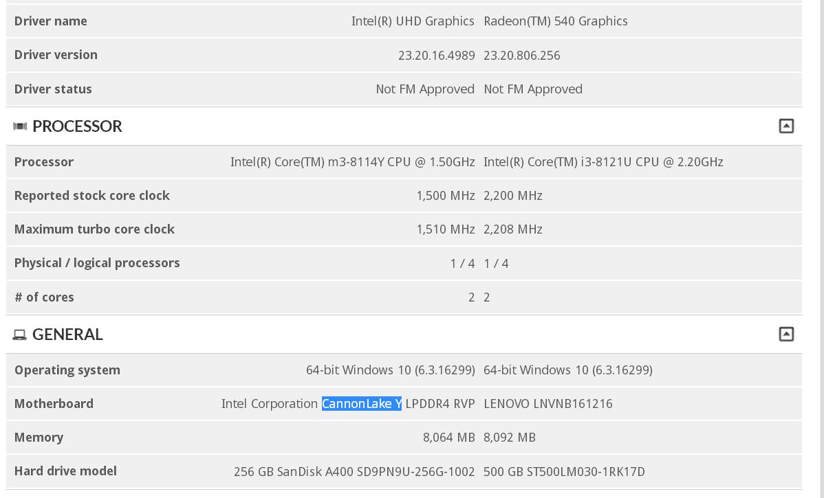 """Intel Core m3-8114Y """"Cannon Lake"""""""