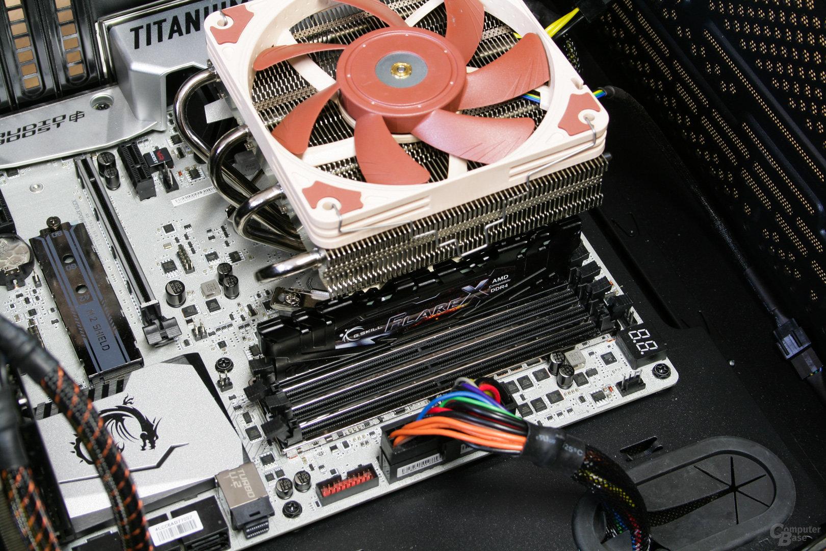 Noctua NH-L12S im Testsystem: Hoher RAM passt mit aufgesetztem Lüfter