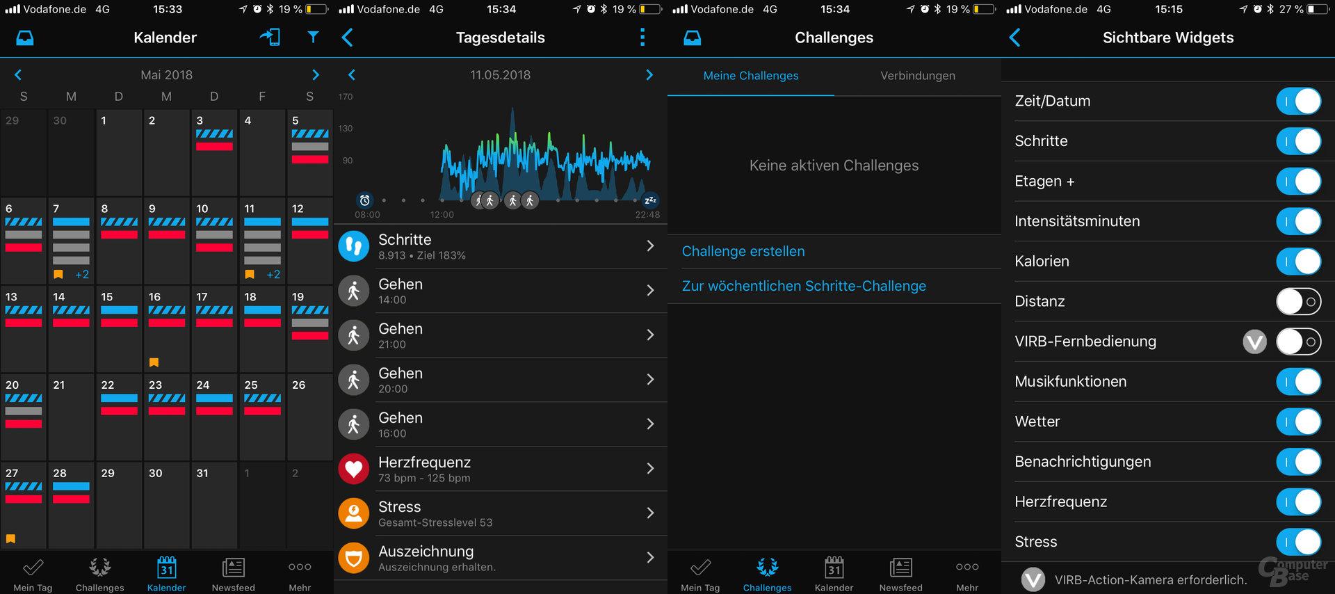Garmin Connect: Kalender und Detailansicht