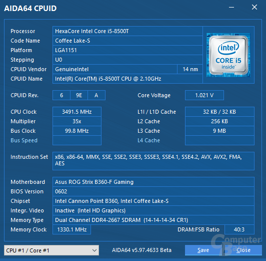 Intel Core i5-8500T mit Turbo