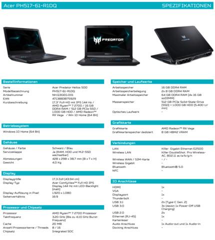 Die Eckdaten des Acer Helios 500 mit Ryzen und Vega