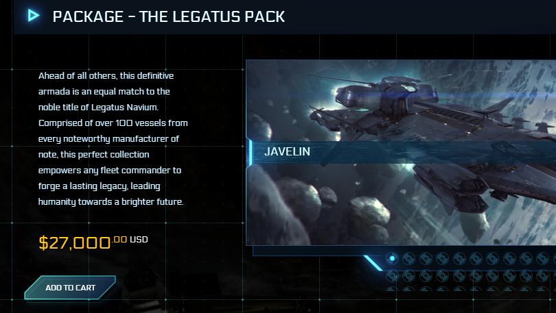 Star Citizen: Legatus Pack mit 117 Schiffen für 27.000 US‑Dollar