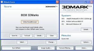 3DMark03 Ergebnis