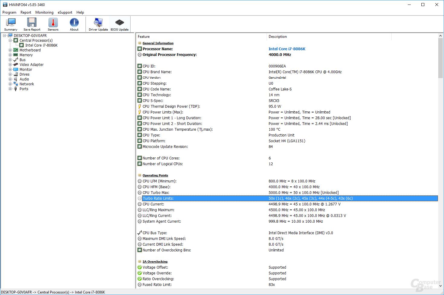Asus-BIOS mit UnCore-Takt bei 4,5 GHz