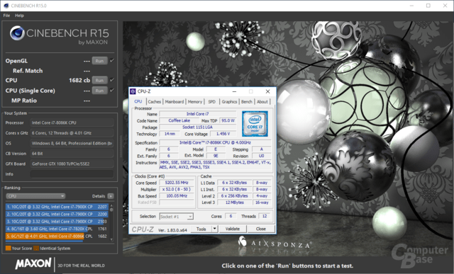 Intel Core i7-8086K bei 5,2 GHz in Cinebench