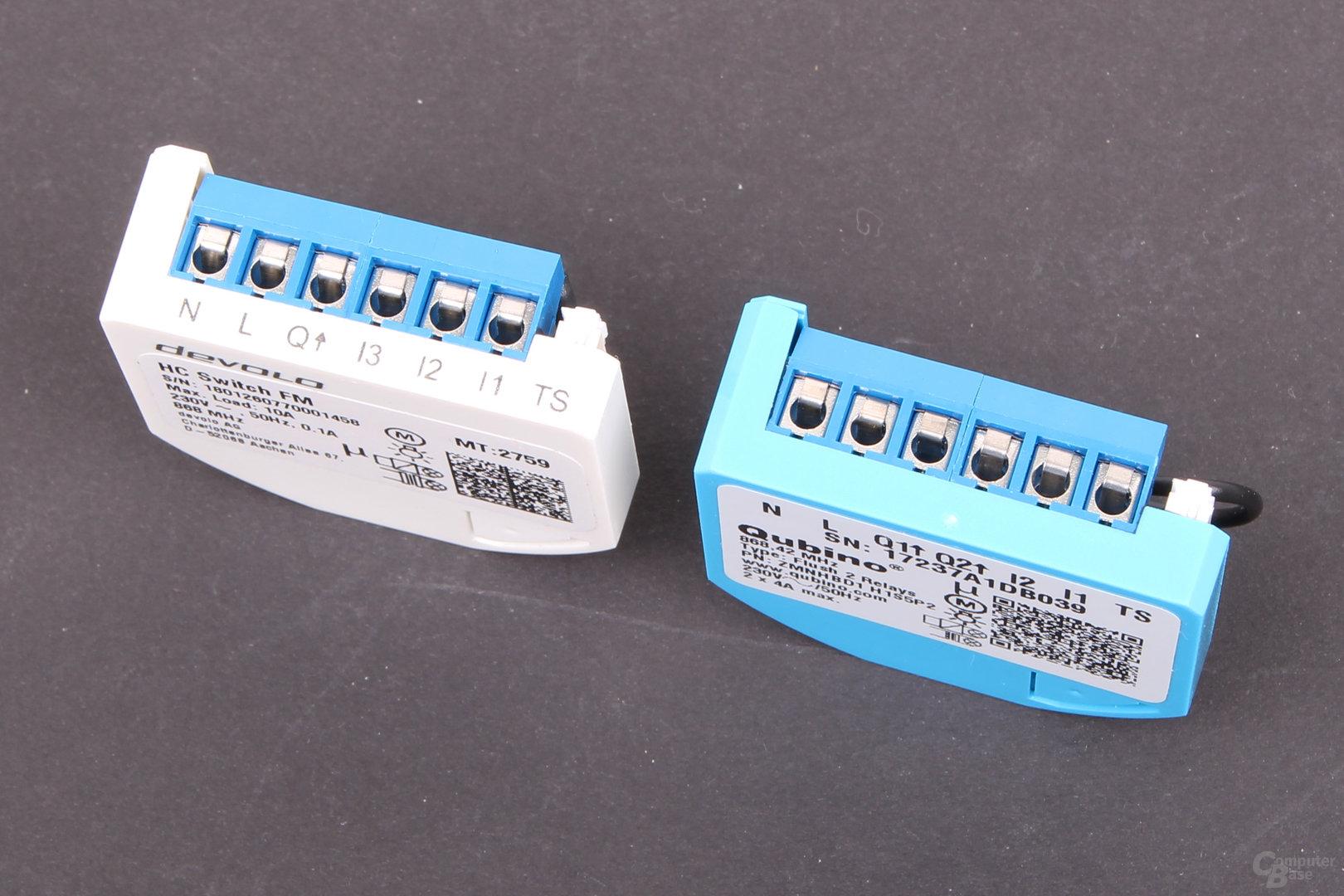 Qubino Flush 2 Relay und Devolo Home Control Schalter