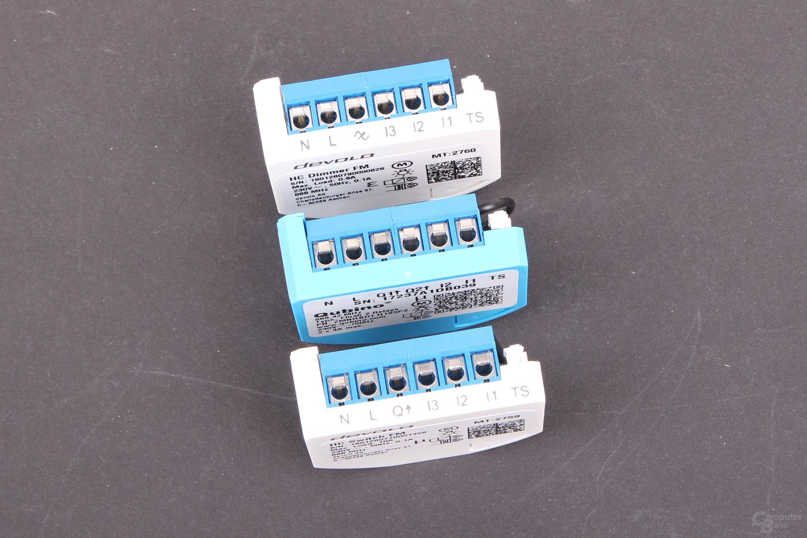 Qubino Flush 2 Relay und Devolo Home Control Schalter & Dimmer