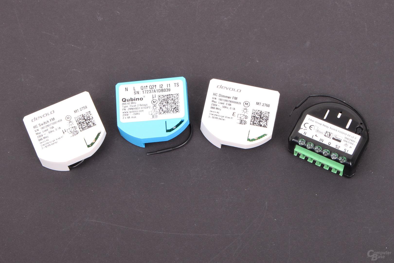 Devolo Home Control Schalter & Dimmer, Fibaro FGS-212 und Qubino Flush 2 Relay