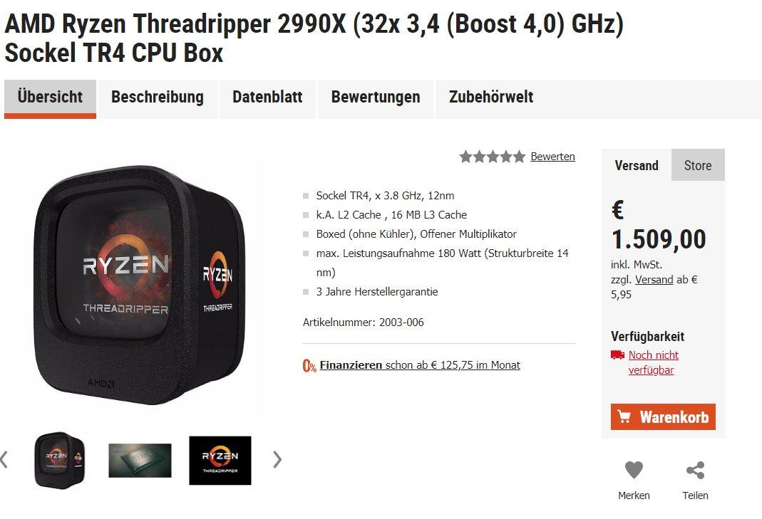 Online-Shop listet Threadripper 2990X für 1.509 Euro