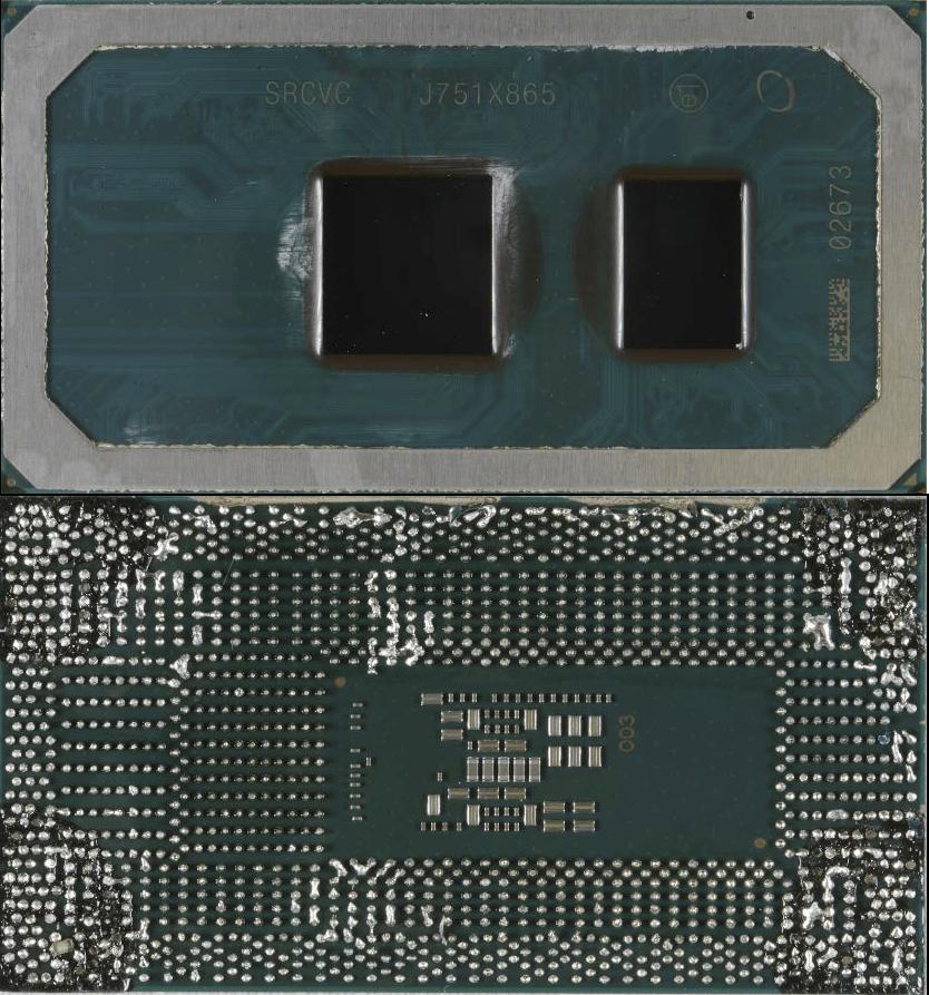 Intel Core i3-8121U Cannon Lake von oben und unten