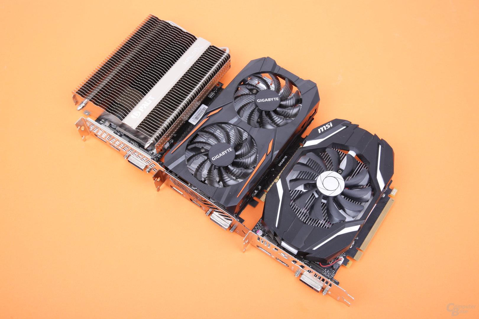 GTX 1050 Ti (oben), GTX 1050 3 GB (Mitte) und GTX 1050 (unten)