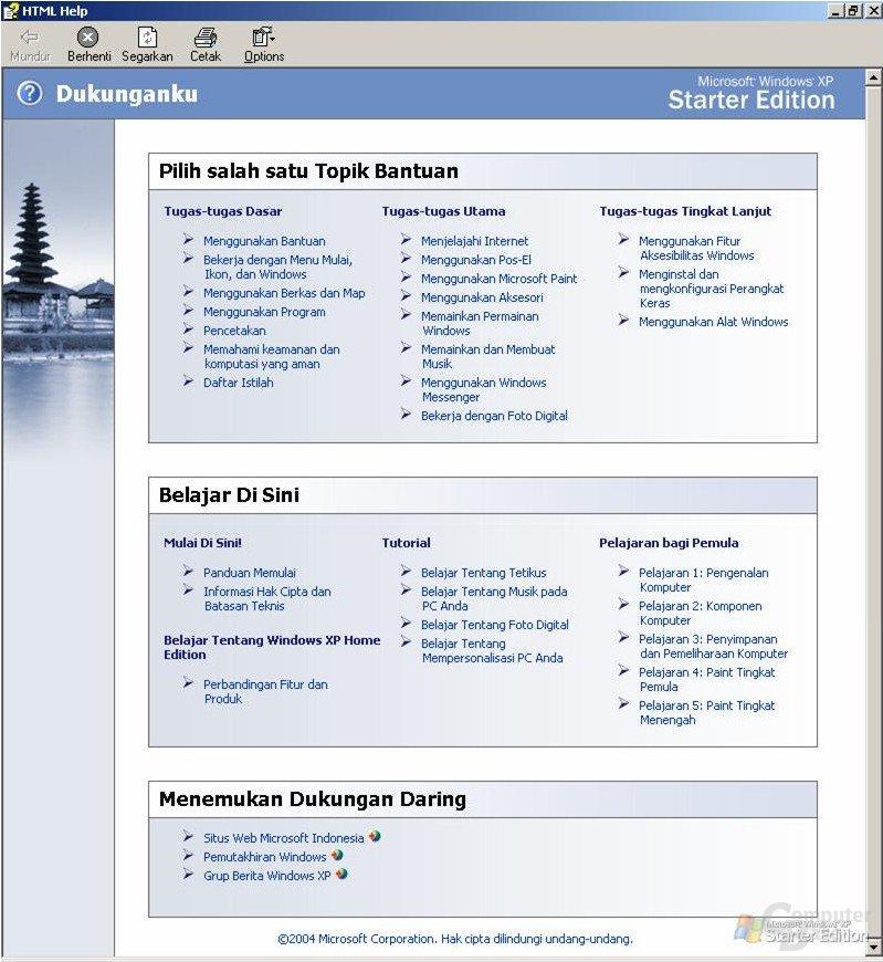 Support-Fenster der Starter Edition