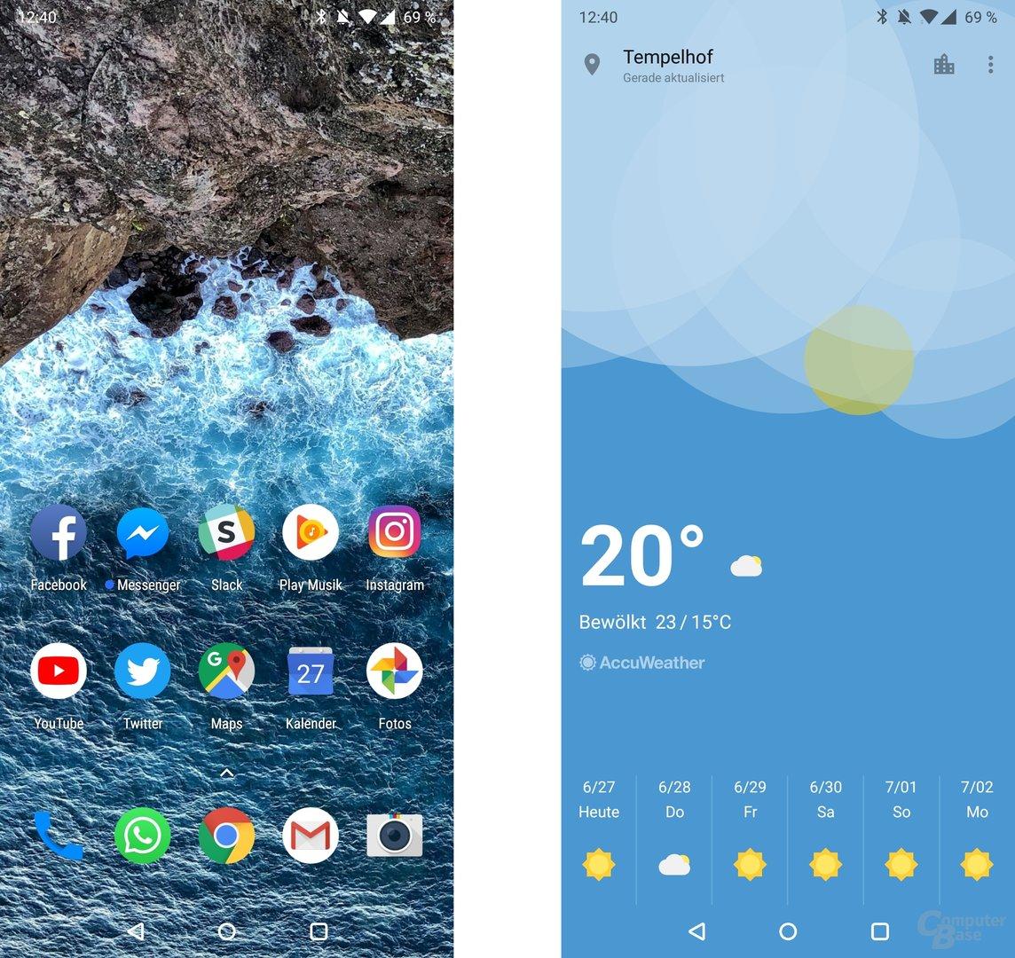 Homescreen und eigene Wetter-App von OnePlus