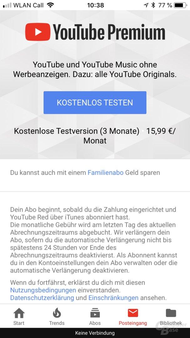 YouTube Premium für 15,99 Euro in der YouTube-App