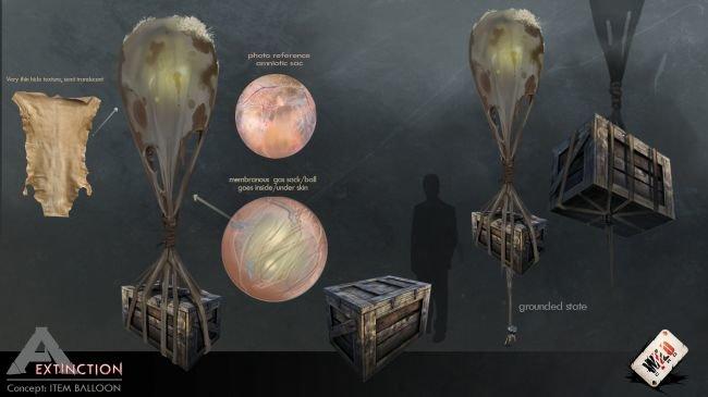 Der Item-Ballon transportiert Ressourcen (Concept Art)